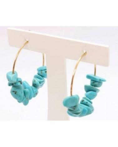 Créoles Turquoises création Isabelle Poisot bijoux