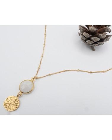 Collier médaillon doré à l'or fin et pierre de lune