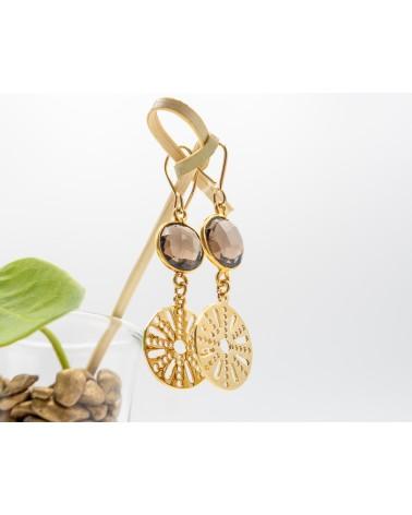 Boucles doreilles quartz et médaillon doré à l'or fin