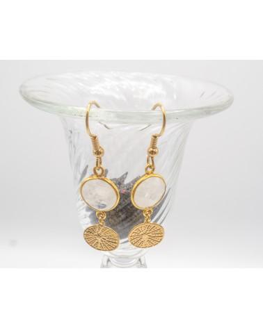 boucles d'oreilles Pierre de lune sertie et médaillon