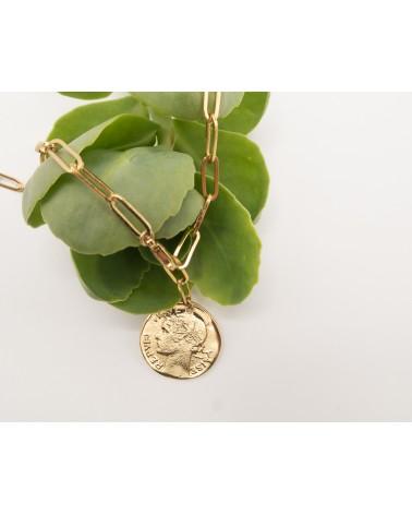 Collier doré à l'or fin, grosse chaîne et médaillon pièce