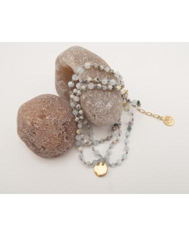 bracelet 3 tours tourmaline, pierre de lune et quartz