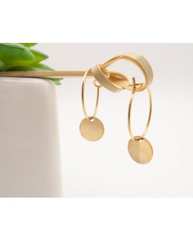 Petites créoles et médaillon doré à l'or fin- Isabelle Poisot